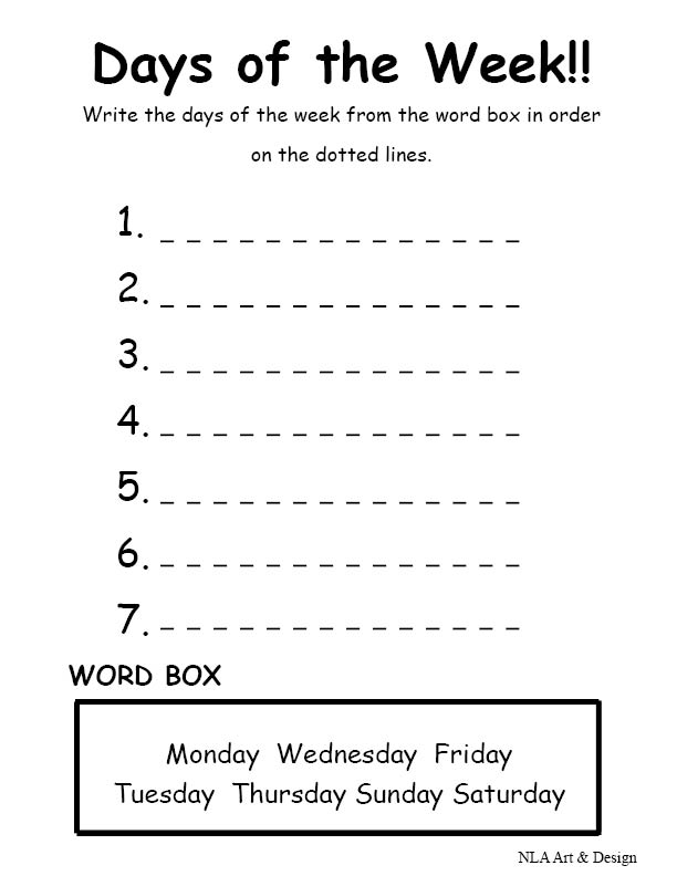 La Escuela De Ingles De Eva Days Of The Week