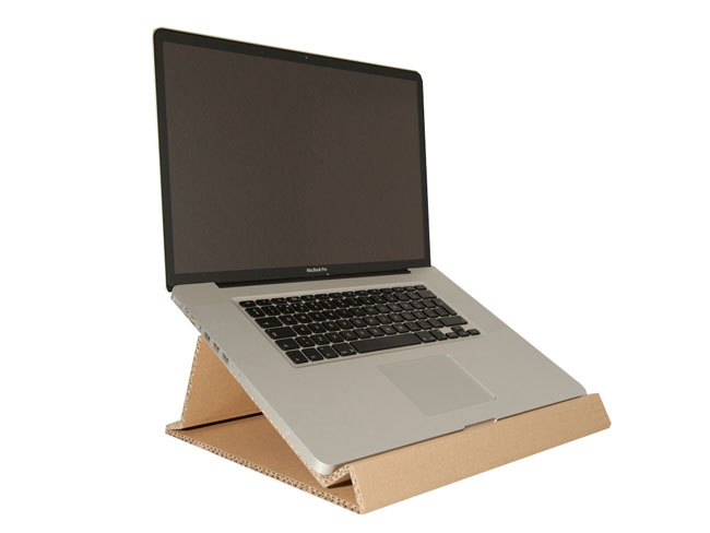 cardboard laptop stand by pedro andr at. Black Bedroom Furniture Sets. Home Design Ideas