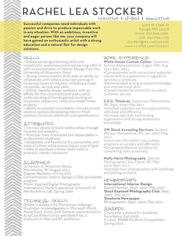 Resume by Rachel Stocker at Coroflot.com