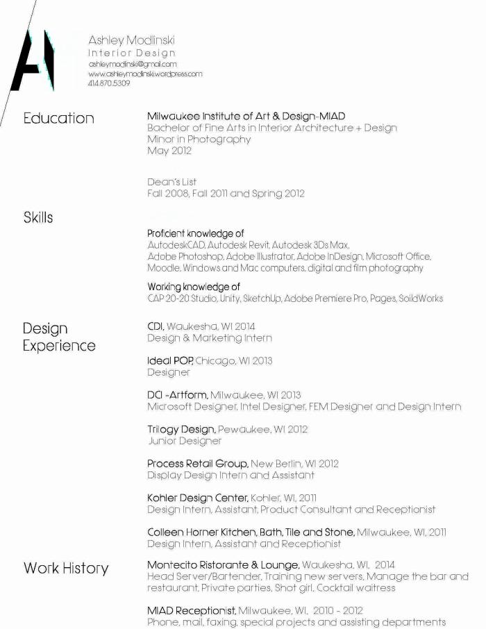 Resume By Ashley Modlinski At Coroflot