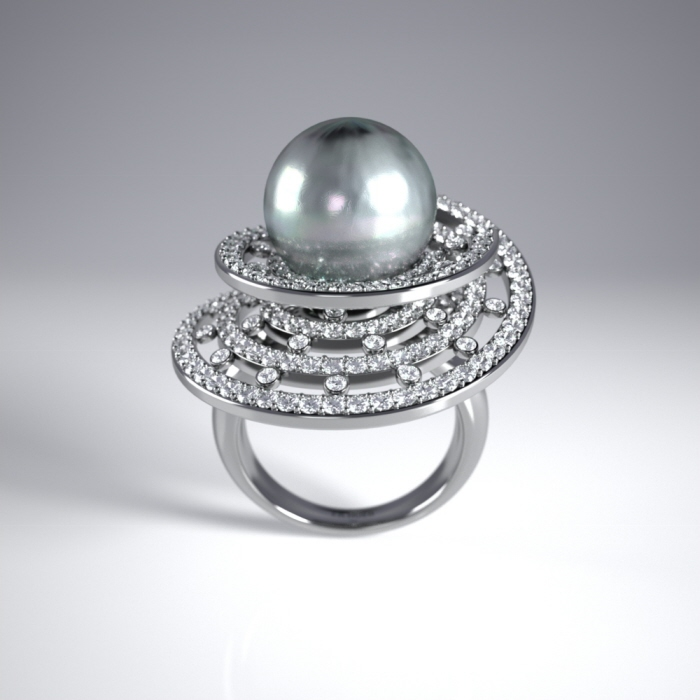 Jose Hadad - Belo Horizonte/ Minas Gerais, Brazil - BALLERINA WHITE GOLD RING WITH DIAMONDS AND
