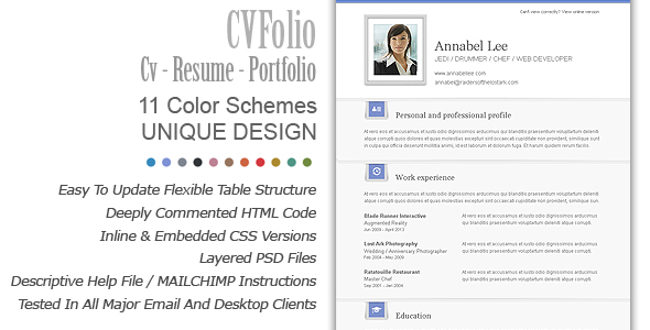 cv folio  portfolio email newsletter by bedros