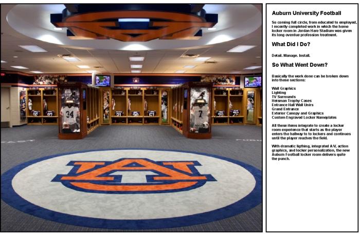Auburn university locker room by spencer battle at - Auburn university interior design program ...