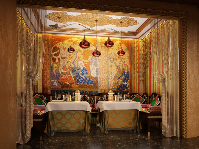 Private dining space arabic style restaurant interior by