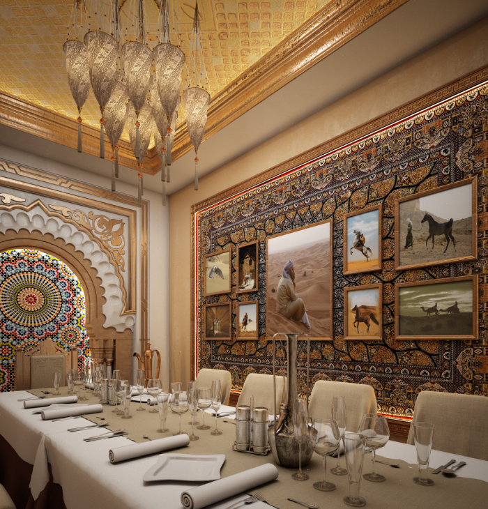 Small banquet room arabic style restaurant interior by