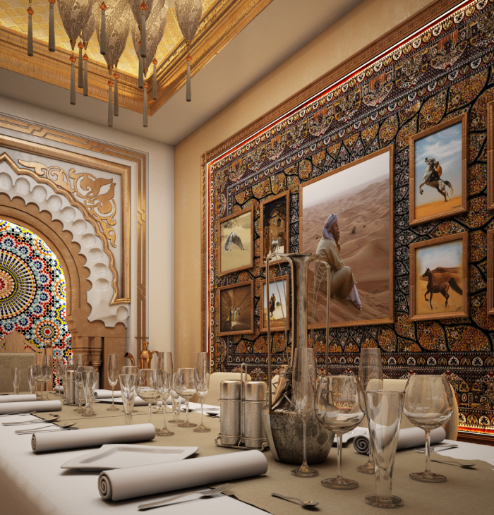Small banquet room arabic style restaurant interior by for Dining room in arabic