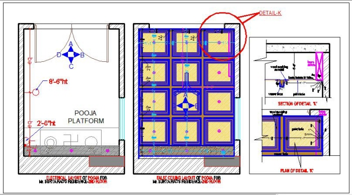 False Ceiling Plan Elevation Section : Residence contemporary theme by rachana palakurthi at