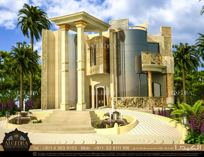 Villa exterior design by algedra interior design at for Exterior design villa