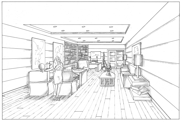 Bedroom Drawing One Point Perspective one-point perspective - office & bedroomdelilah collins at