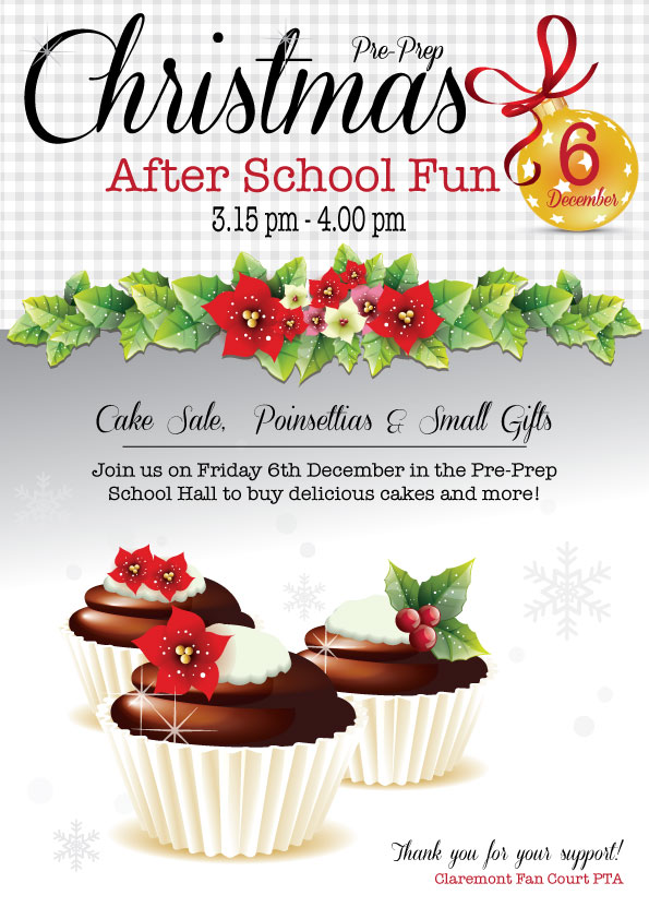christmas cake sales and mufti day posters by valerie sage