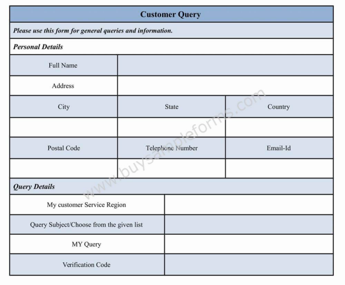 customer service form template