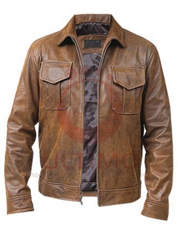 Worn Brown Leather Jacket BO7W2n