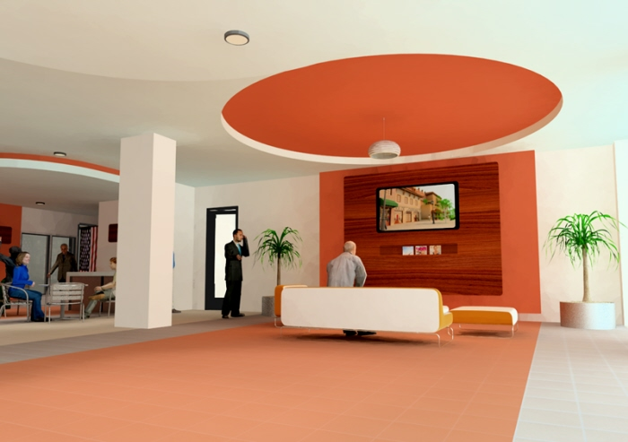 Motel 6 lobby and snack area concept by william webb for Design hotel 6