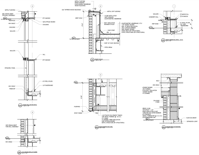 Charming Curtain Wall Section Detail Parapet Detail Partial Window Sill Detail . ...