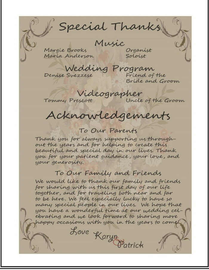 wedding acknowledgements koni polycode co