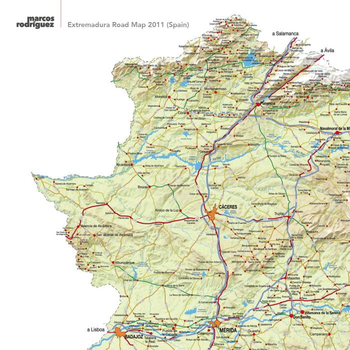 Extremadura Road Map 2011 Spain by Marcos Rodrguez at Coroflotcom