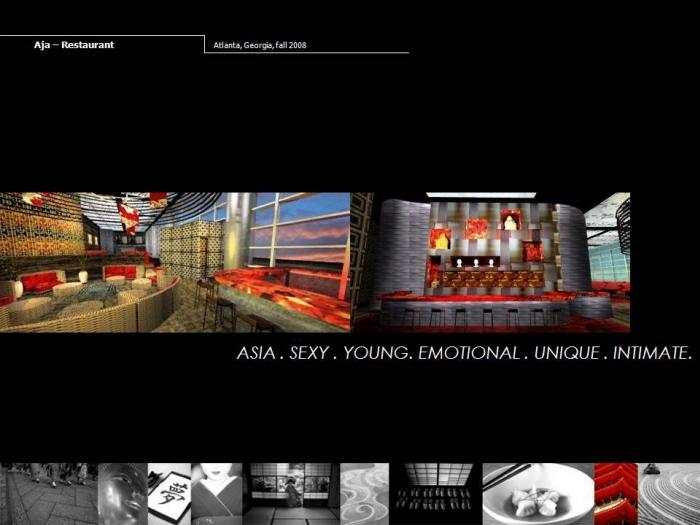 Architecture by serena zanello at for Aja asian cuisine lounge