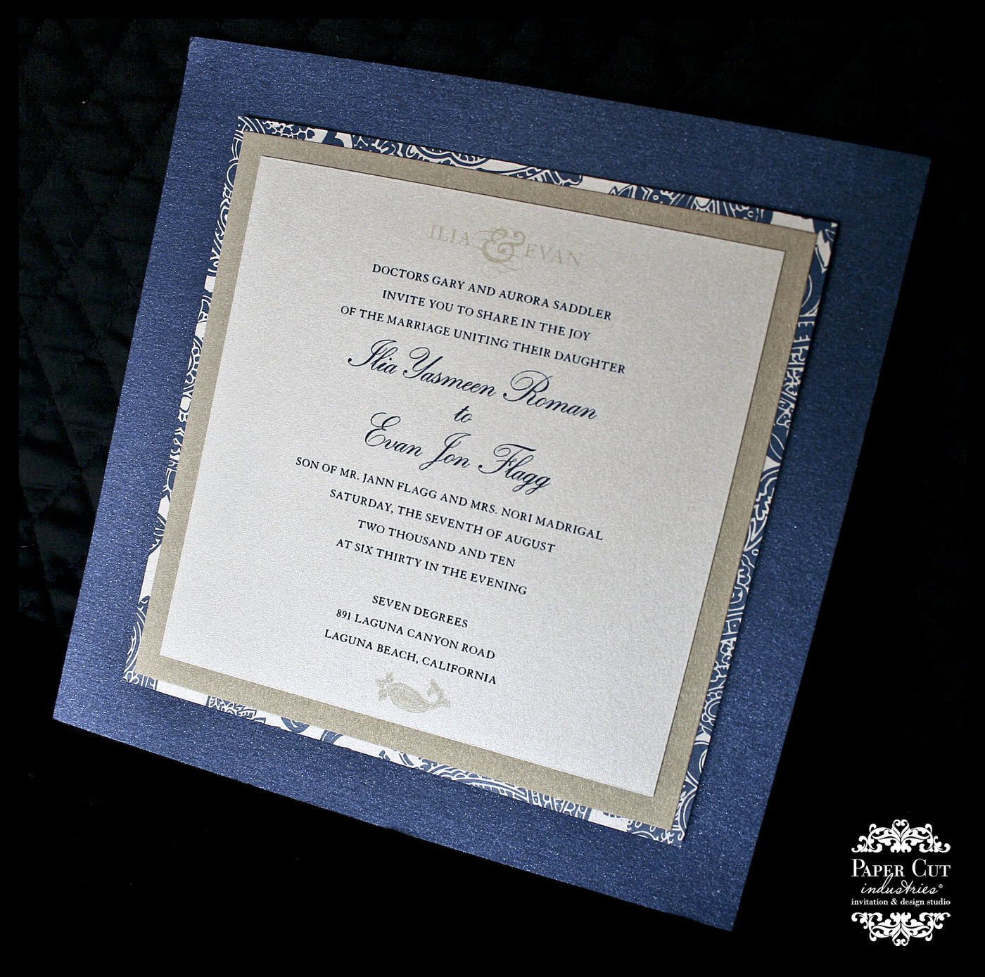 Wedding invitations event invitations by monica garrett at wedding invitation square wedding invitation layered with metallic papers vellum overlay wrap and thermography printed in two colors navy blue gold stopboris Images