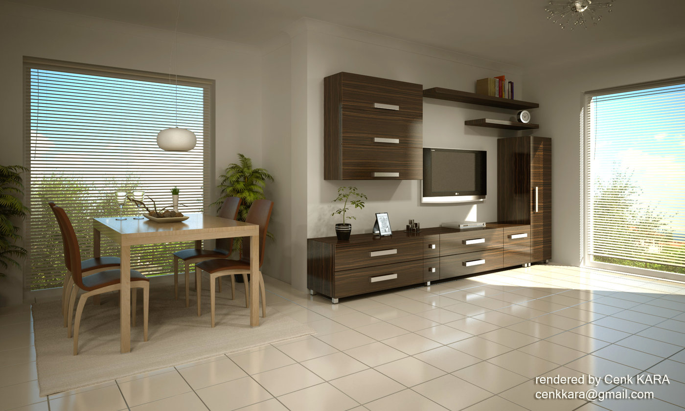 Kitchen & Living Room Rendering by Cenk Kara at Coroflot.com