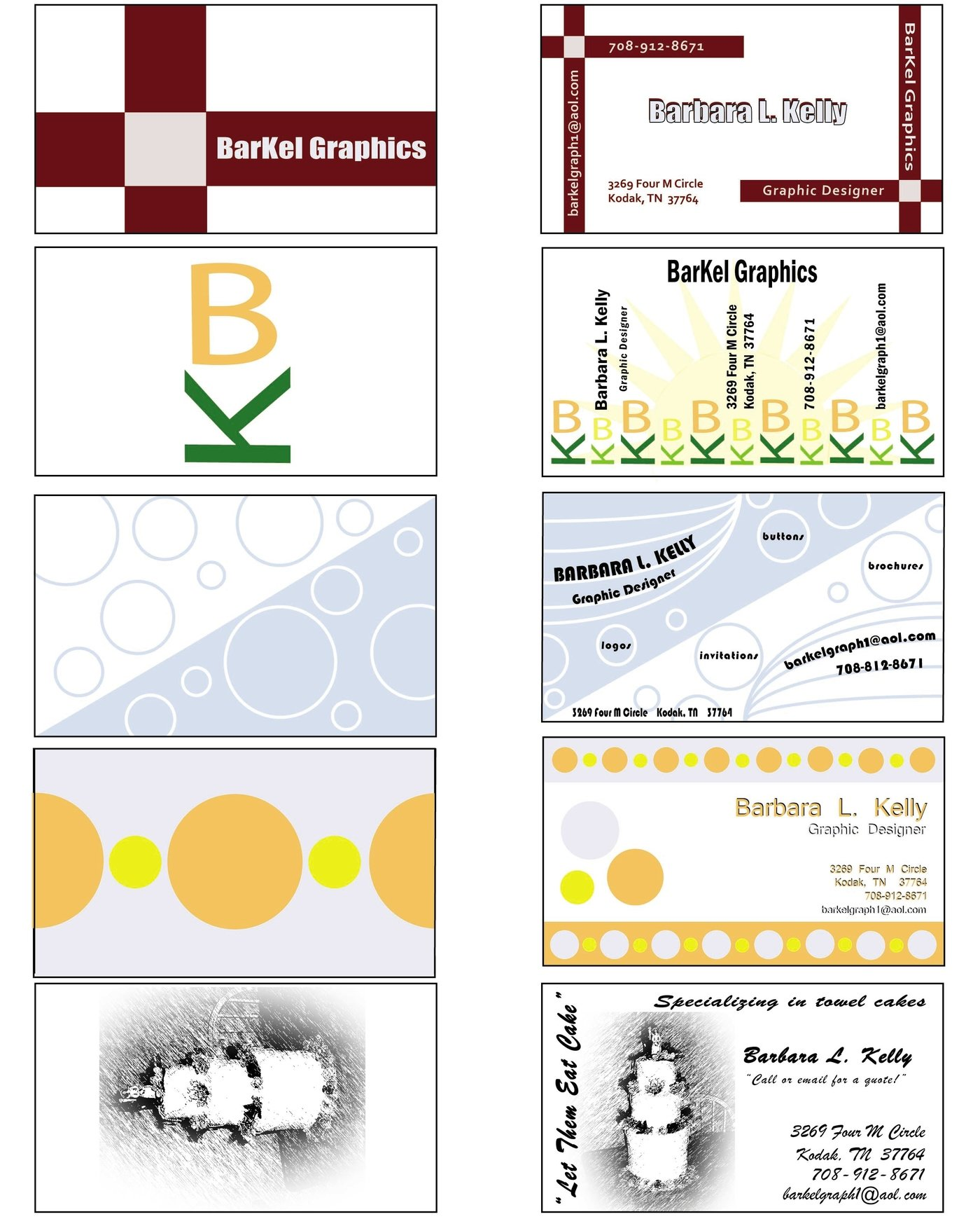 Flyers and business cards by Barb Kelly at Coroflot