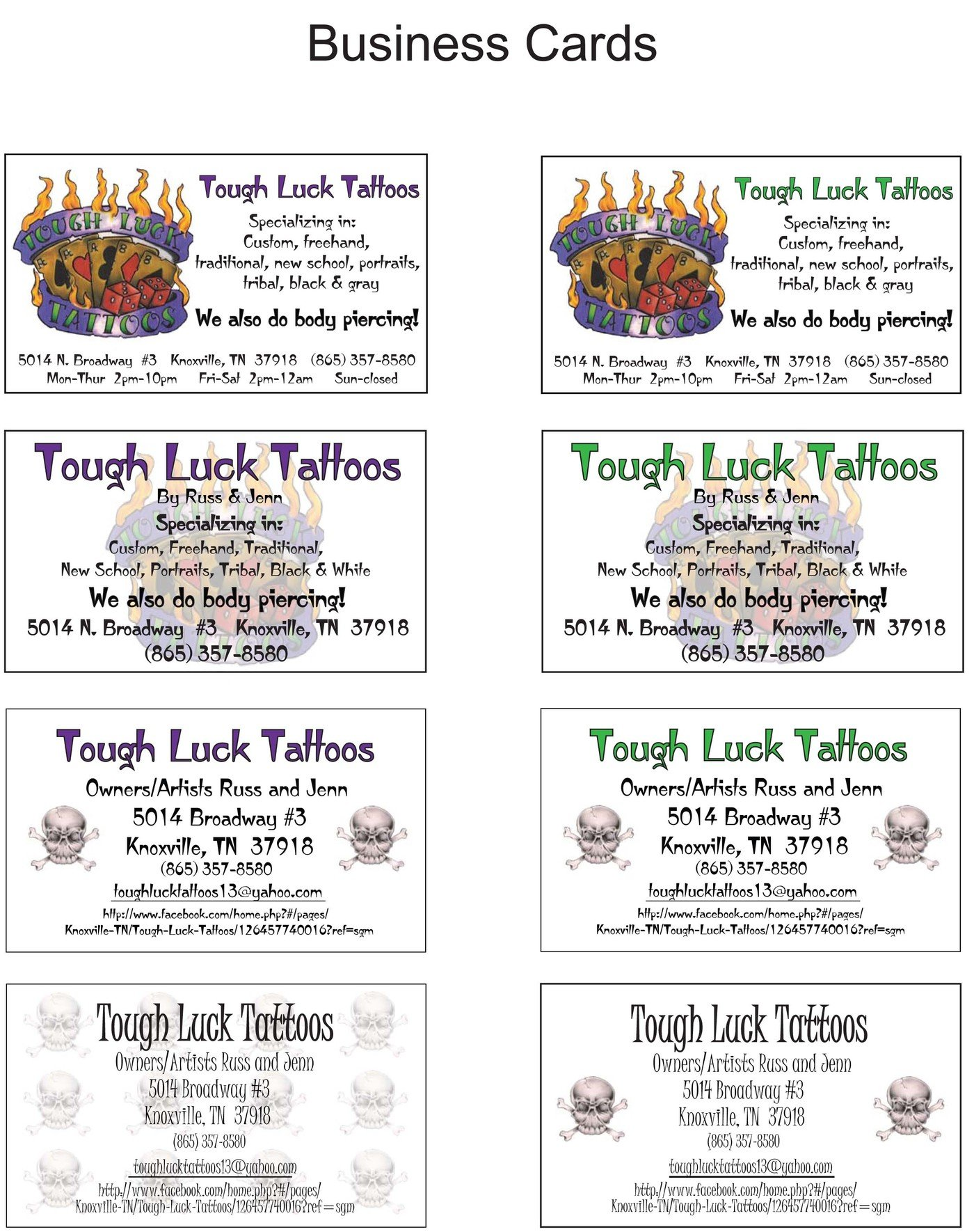 Flyers and business cards by barb kelly at coroflot tough luck tattoos in knoxville tn these are the cards i made for my boyfriends tattoo shop i am always coming up with different designs for his shop colourmoves Images