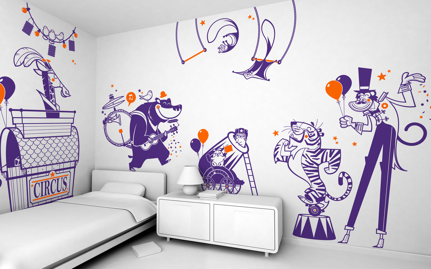 Giant kids wall decals by e glue studio at coroflot happy circus pack of wall stickers for baby nursery or kids room amipublicfo Gallery