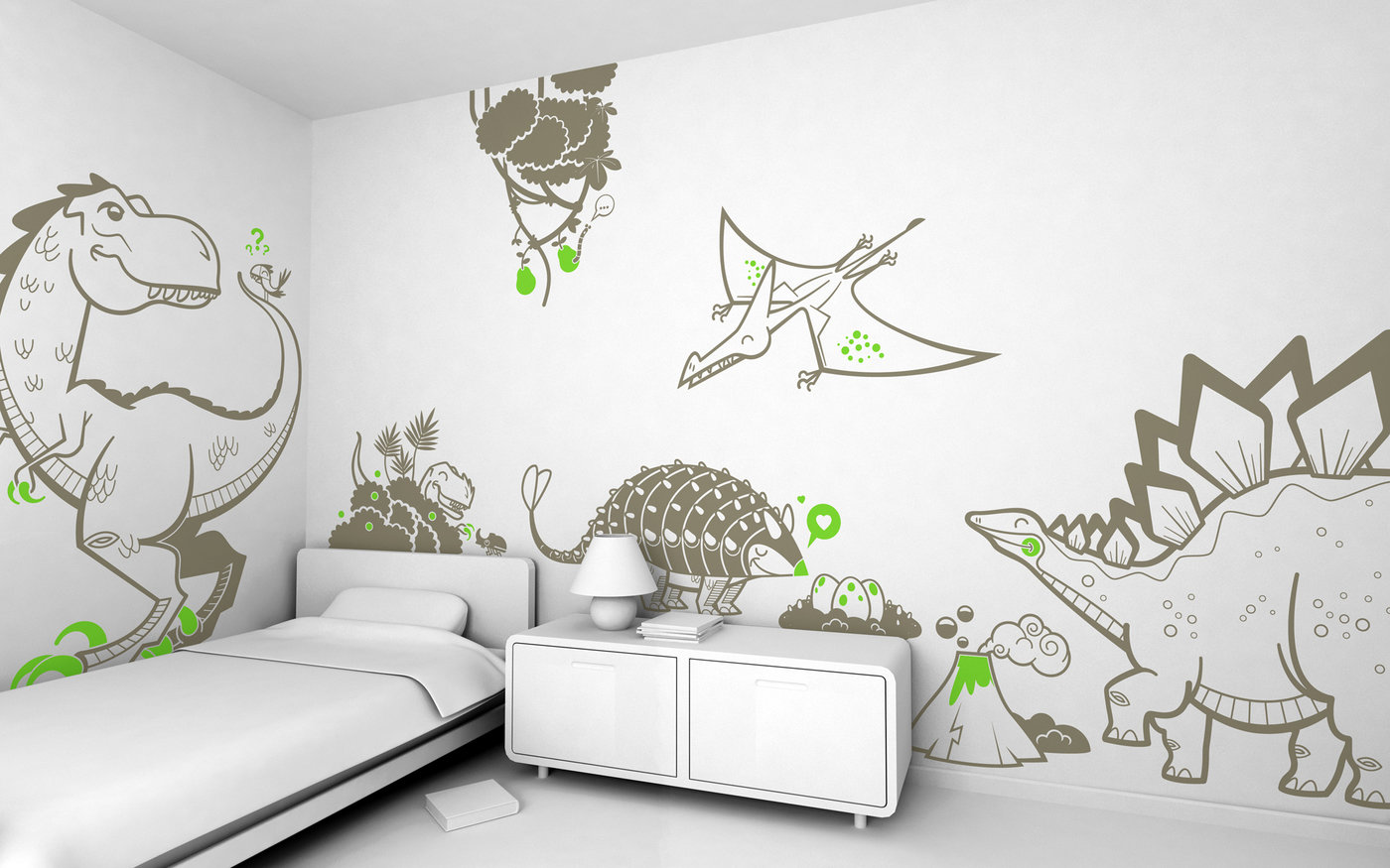 Giant kids wall decals by e glue studio at coroflot dinosaur time pack of wall stickers for baby nursery or kids room amipublicfo Gallery