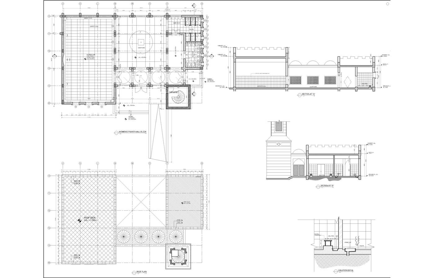 Plan Elevation Section Of Mosque : Architecture drawings by mohammed asim baig at coroflot
