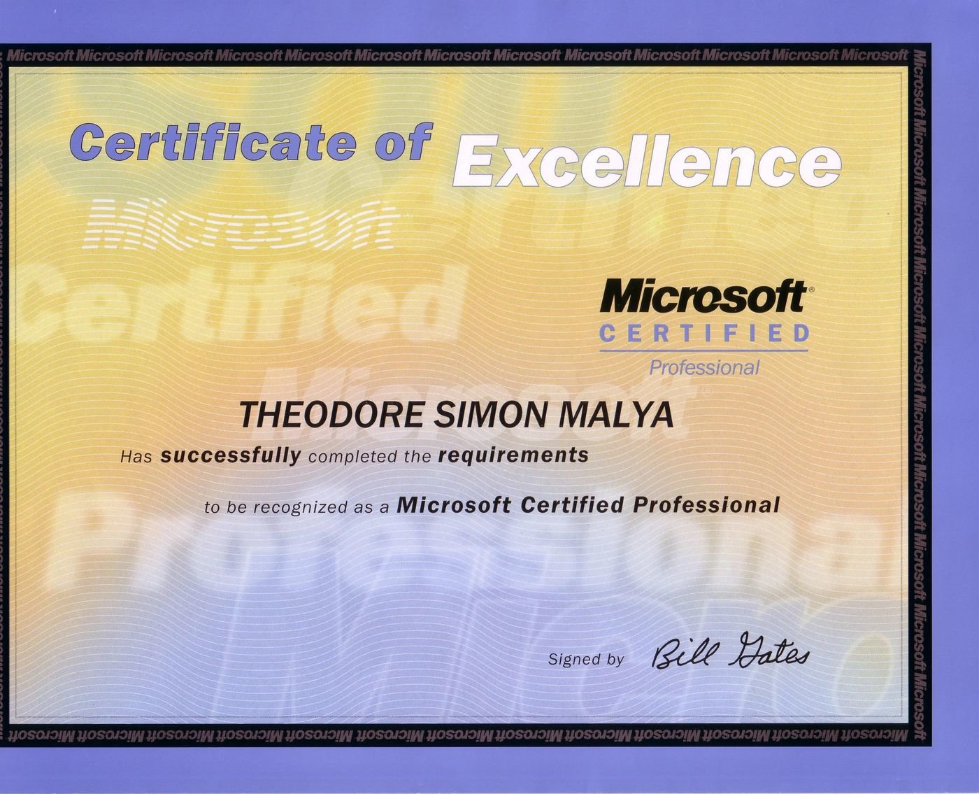 Euro cv and academic qualifications by theodore simon malya at certificate of excellence microsoft member of microsoft certified professionals xflitez Gallery