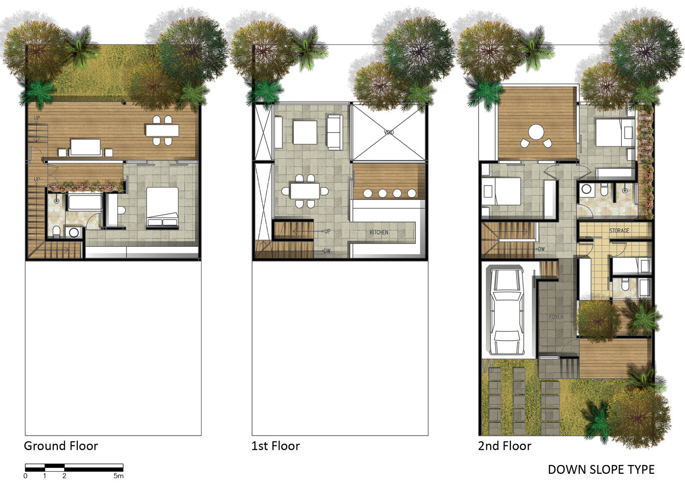 Projects by fajar aditya at for Down slope house plans