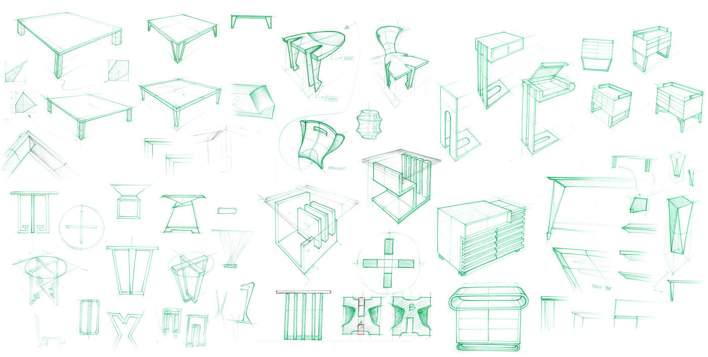 Various Tables Idea Generation Sketch For Coffee Table Bathroom Vanity Shelves End Some Of These Sketches Are Translated Into Cad Drawings And