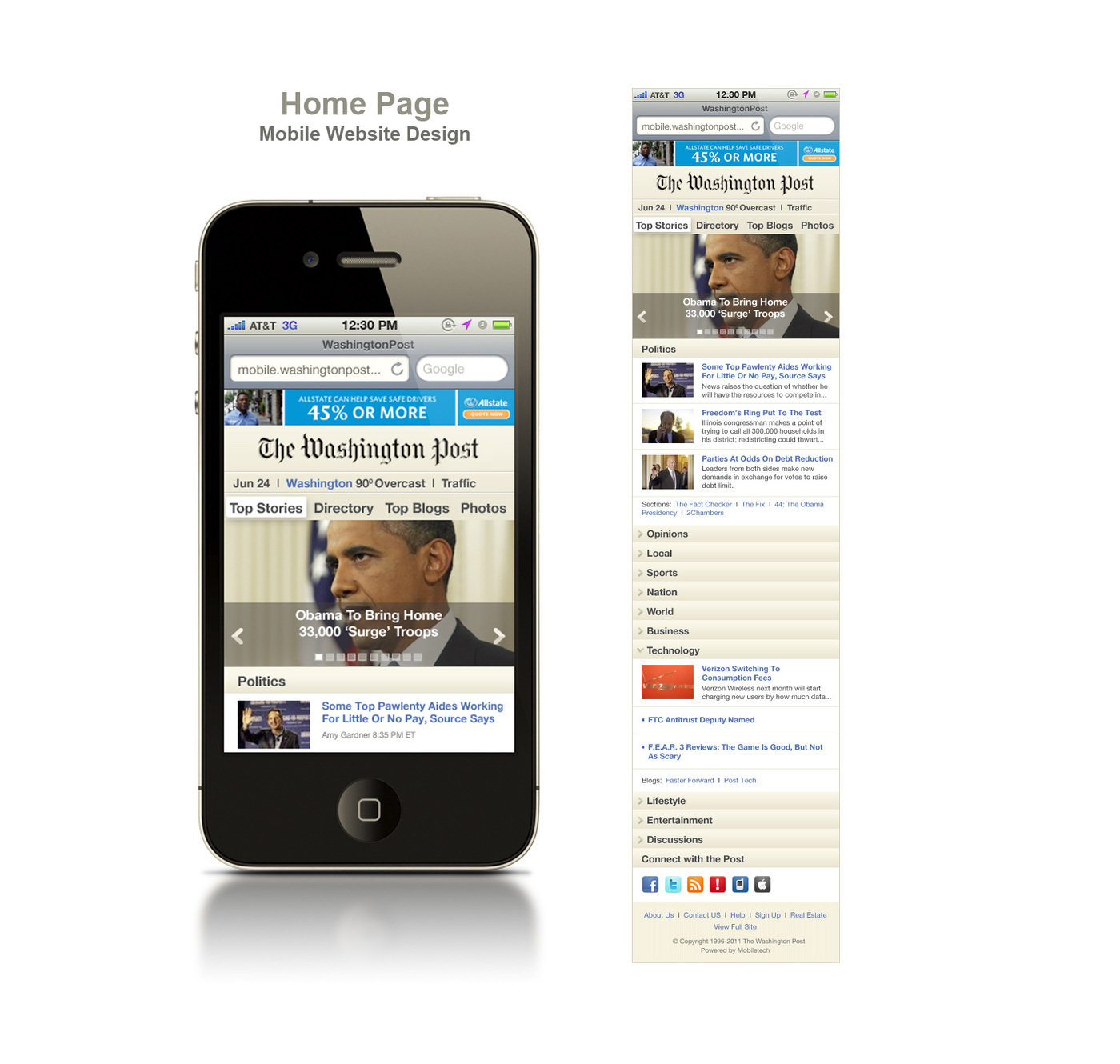 Washington Post Mobile Website   Redesign Exercise For Designing The  Washington Postu0027s Website Into A Mobile Site. The Project Assignment Was To  Design A ...