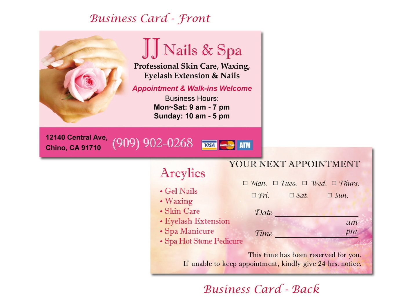 Nails business cards image collections free business cards print by ivy huang at coroflot business card of jj nails spa magicingreecefo image collections magicingreecefo Image collections