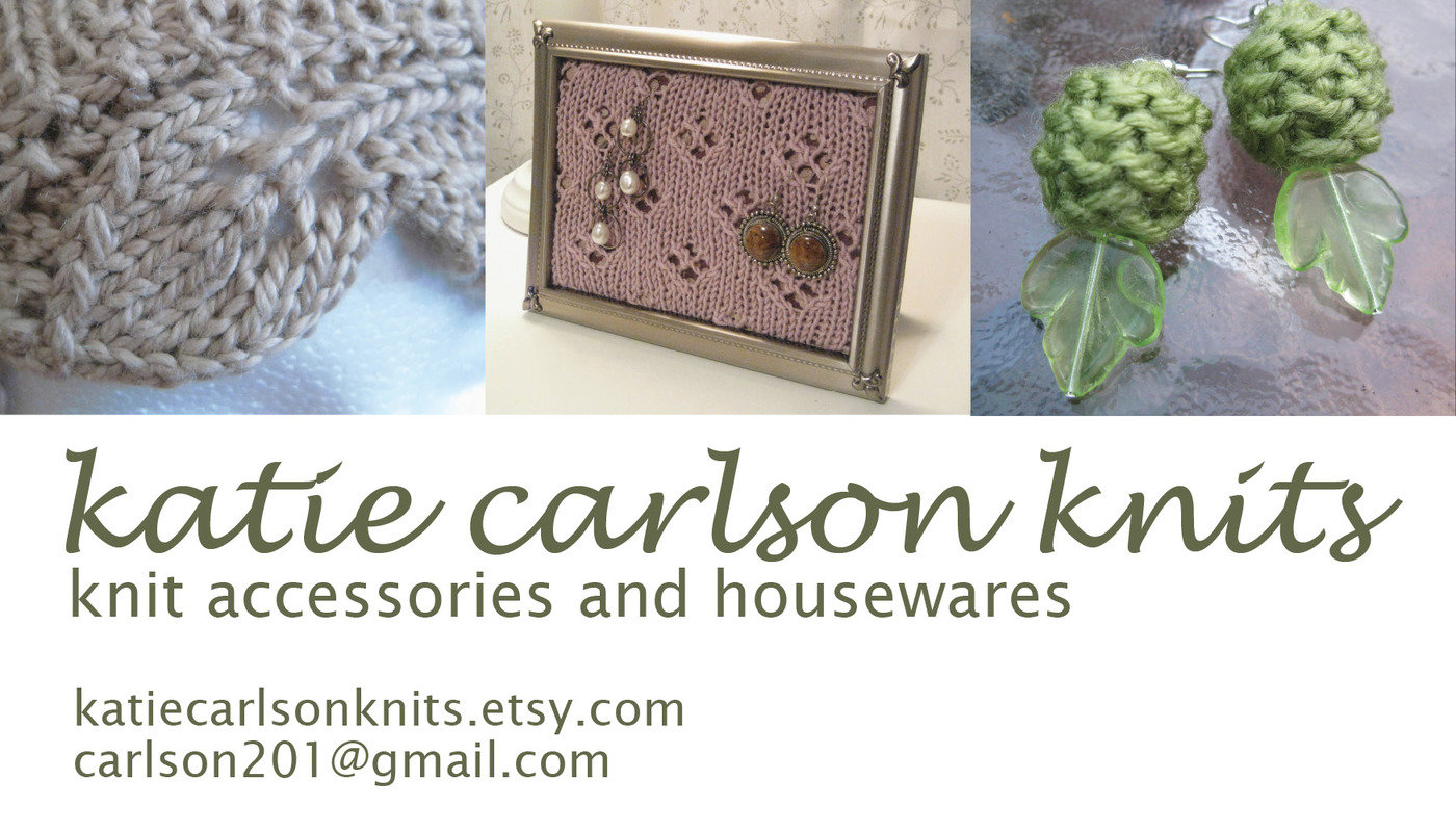 Graphic work by katie carlson at coroflot knitting business card my side hobby is knitting and i enjoy making and selling homemade projects such as jewelry and hats i created a business card magicingreecefo Image collections