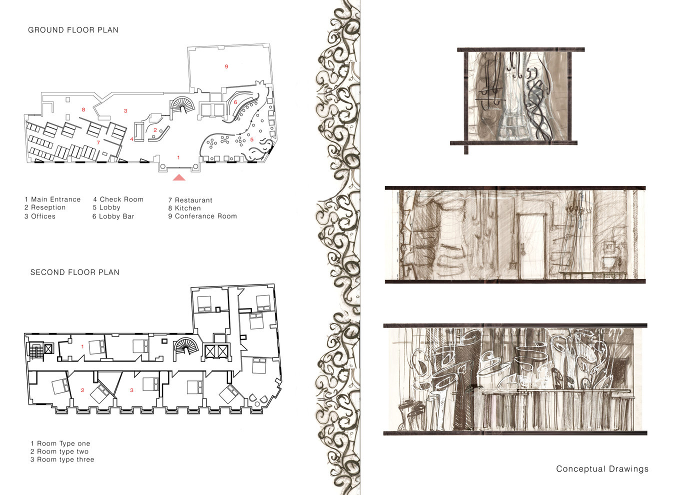 Boutique Hotel Floor Plans Conceptual Sketches