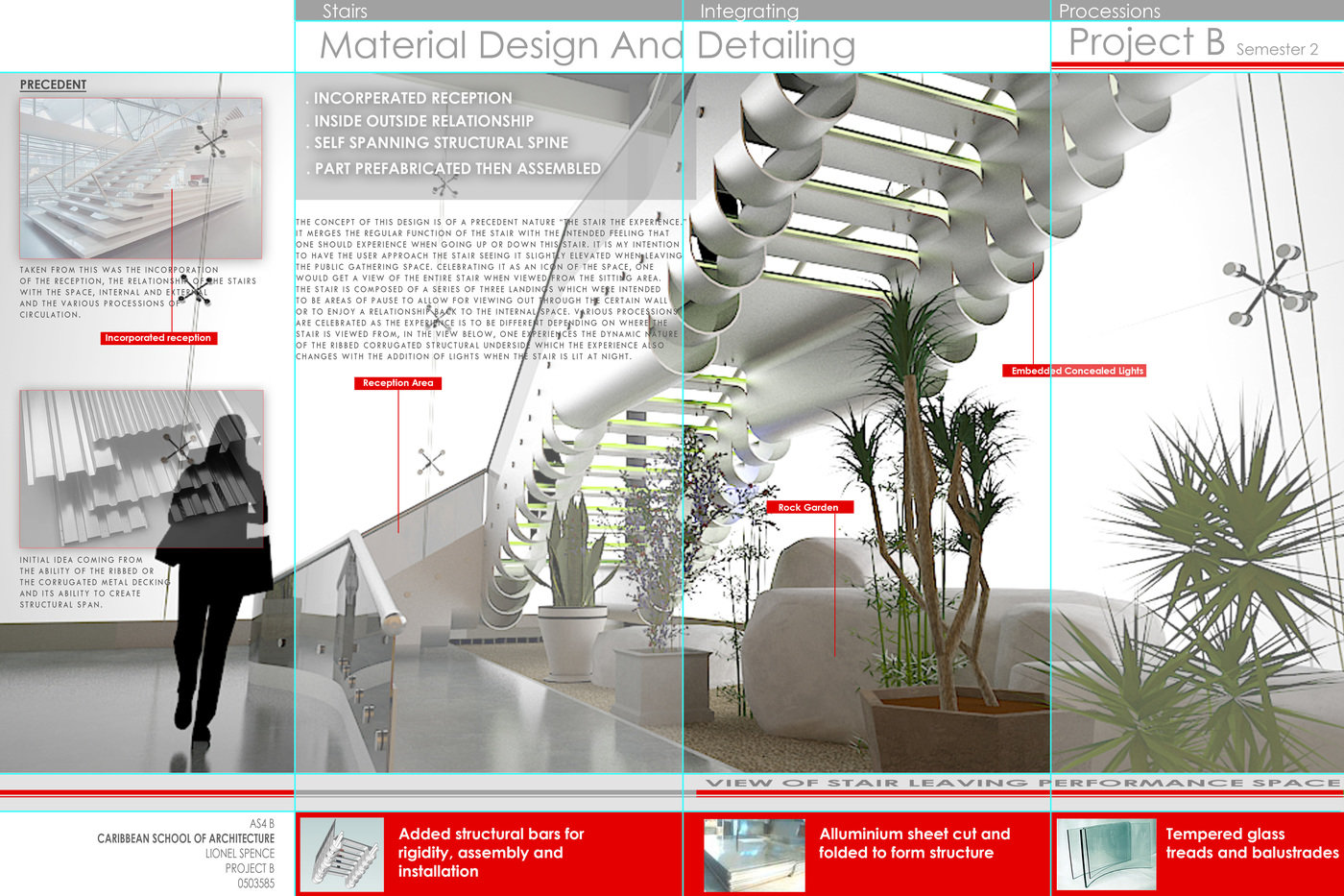 Stairs, Materials And Detailing Sheet # 1   We Were Give A Choice Of A  Major Material In This Case Aluminum To Design A Stair For A Civic Space. A  Virtual ...