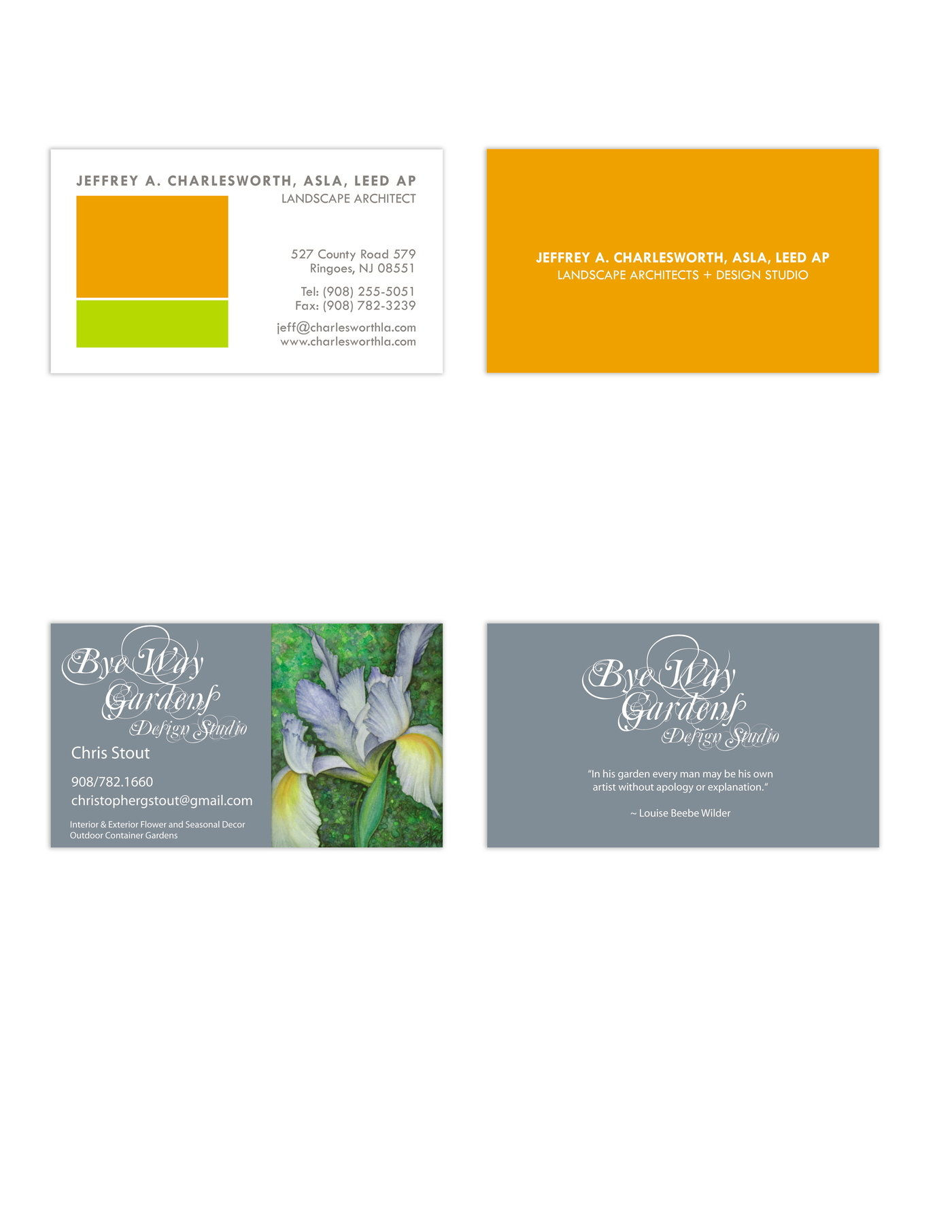 Letterhead and business cards by carla short at coroflot jeff charlesworth landscape architect and chris stout landscape design jeff charlesworth logo and business card for landscape architect in ringoes nj magicingreecefo Images