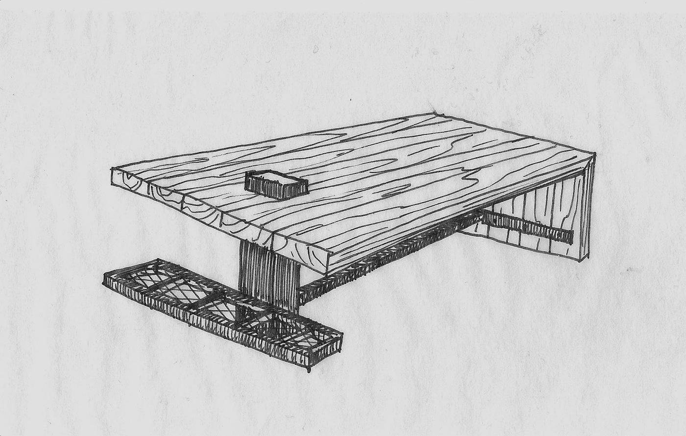 Dining table 1 by tyson schrock at coroflot design phase sketches and model of dining table 1 geotapseo Gallery