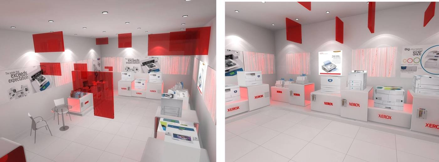 store design for xerox pixelated squares inside store keeping the main visual element of lines for the interiors pixelated squares from the logo unit - Pixelated Interior Design
