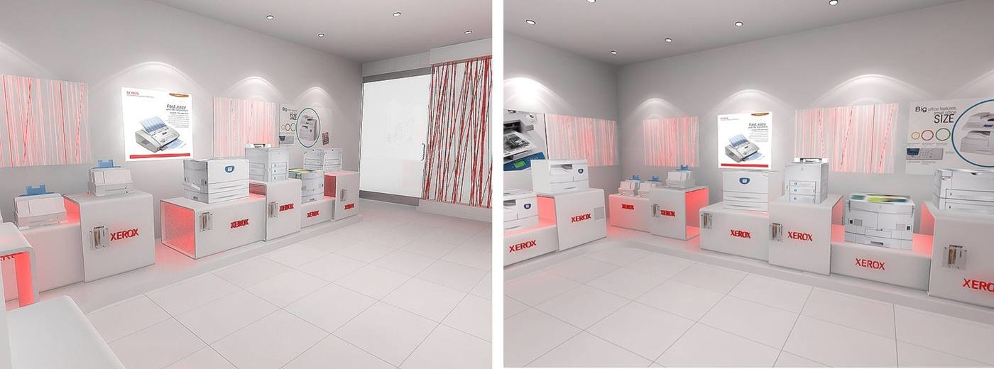Store Design For Xerox  Interior View   The Concept Is Derived From The Key  Function That The Product Range (photocopiers,faxes Etc.
