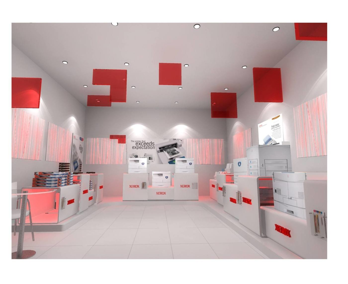 Nice Store Design For Xerox   Pixelated Squares Inside The Store.   Keeping The  Main Visual Element Of Lines For The Interiors ,pixelated Squares From The  Logo ...
