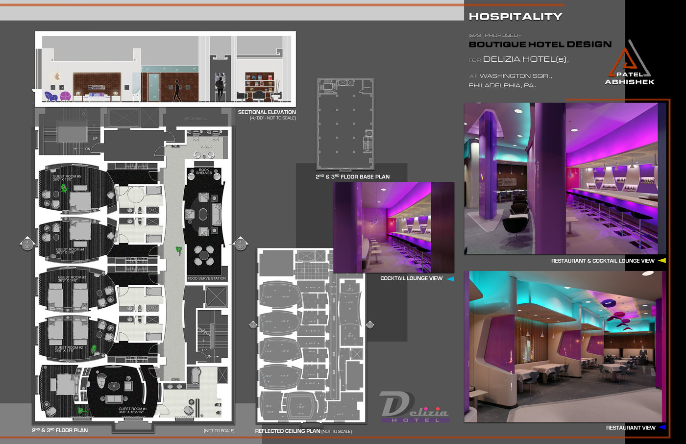 Interior architecture design portfolio sample by for Design boutique hotel torino
