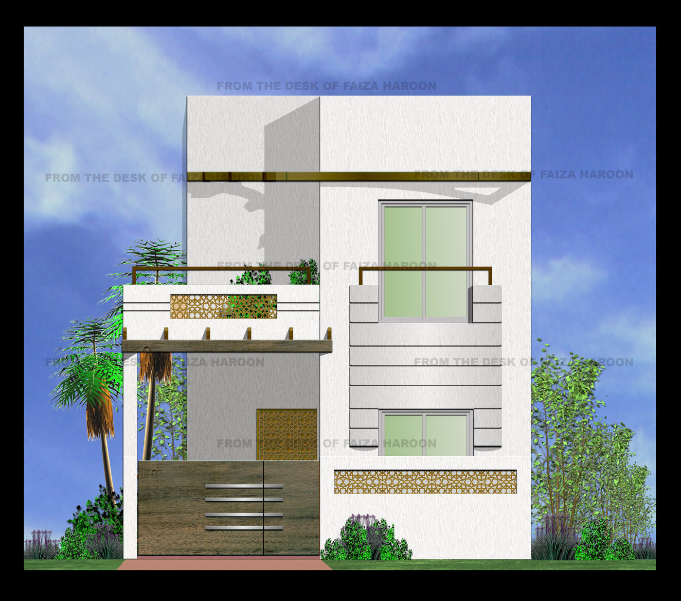 Front Design Of 5 Marla House In Pakistan Part - 48: FRONT VIEW - Designed For: Arcare Role: Architect