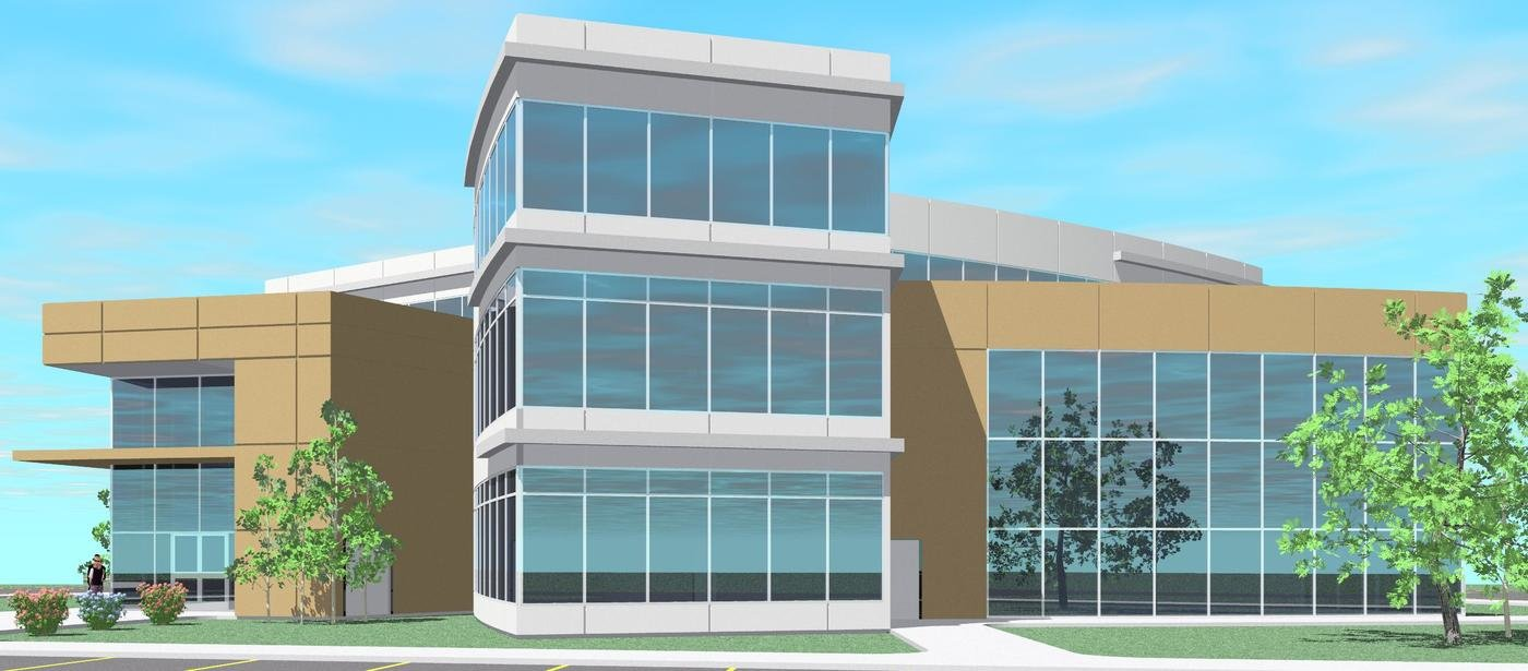 Office building design by dan sample at for Revit architecture house design