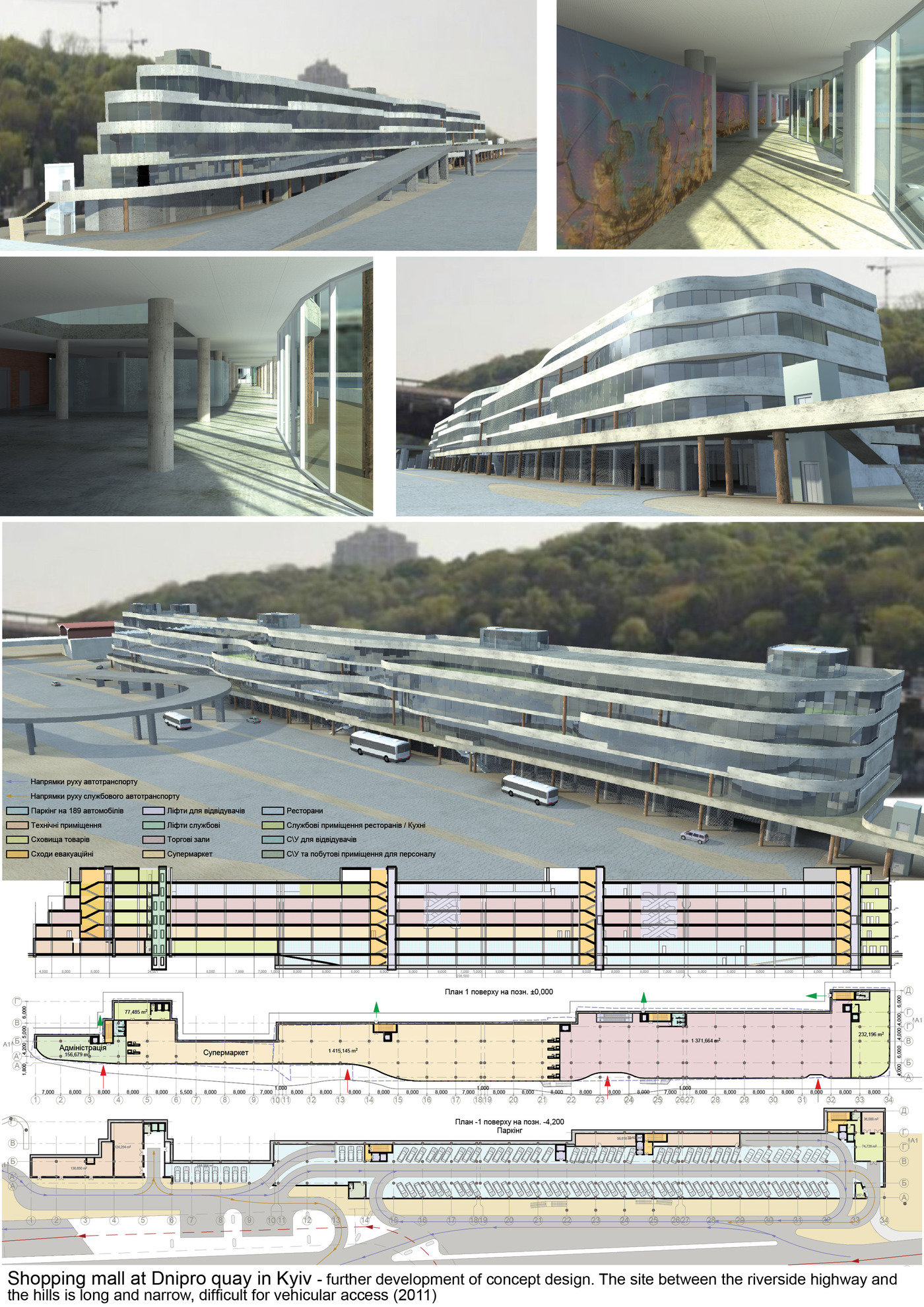 Shopping Mall, Dnipro Quay In Kyiv (2011)   Further Development Of Approved  Concept Design (2011). The Site Between The Riverside Highway And The Hills  Is ...