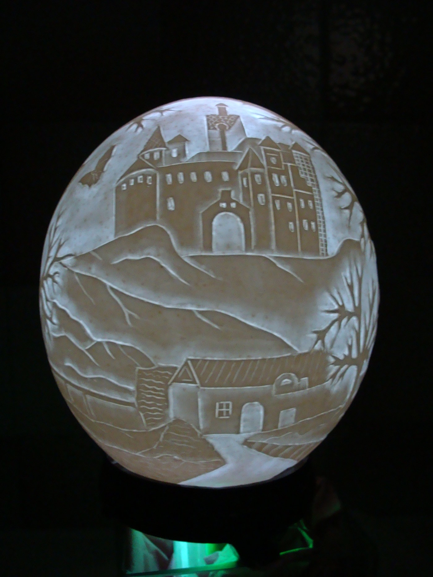 Carved Handmade Decorative Ostrich Egg Lamp Kingdom of