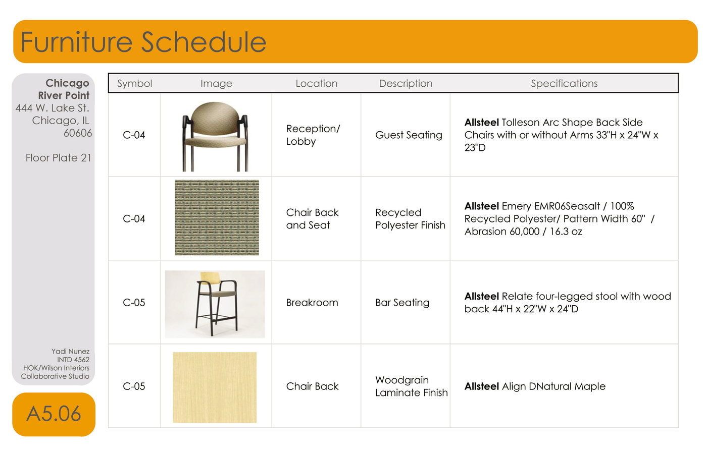 Hok collaborative senior project by yadi nunez at for Interior design schedule template