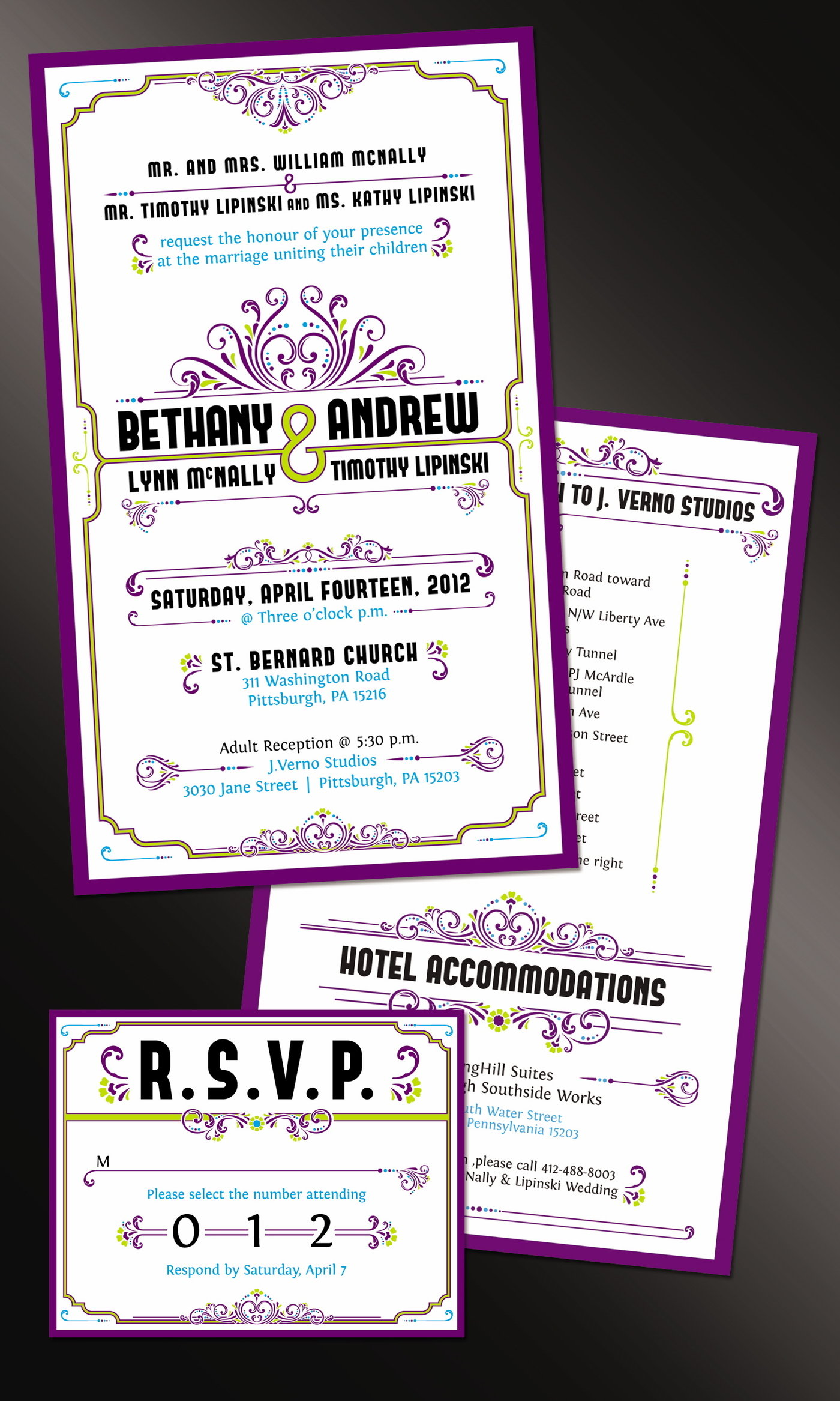 Advertisements by scott nicklos at coroflot wedding invites and rsvp a peacock themed wedding with matching color scheme and a mardi gras aspect monicamarmolfo Choice Image