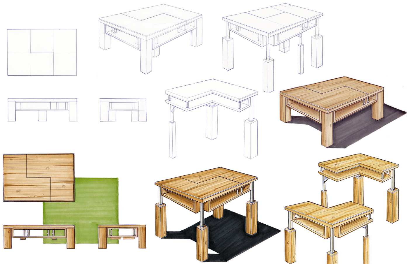 Tridesk space saving furniture by ferman vong at coroflot sketches and renderings original materials stained wood and metal geotapseo Gallery