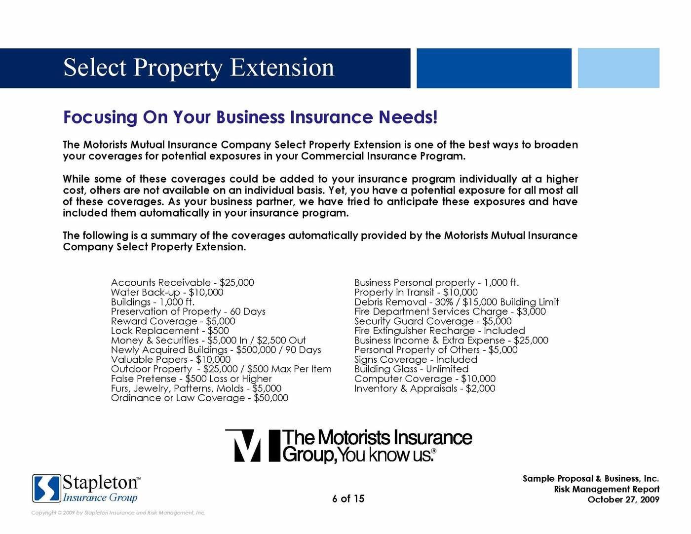 property preservation proposal